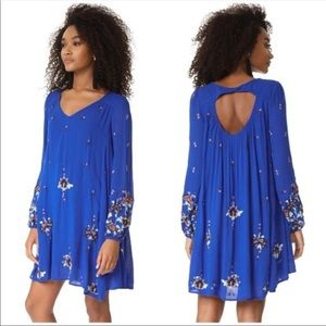M Embroidered Oxford Tunic Dress royal  Blue